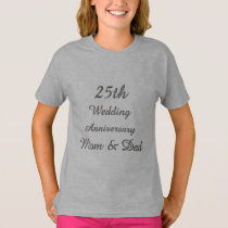 25th Wedding Anniversary Chic Silver Typography T-Shirt
