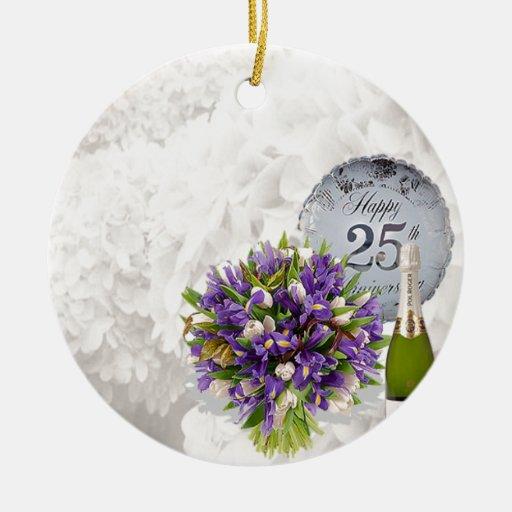 25th wedding anniversary christmas tree ornaments zazzle for Engagement christmas tree ornaments