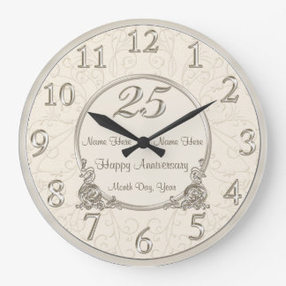 25th Wedding Anniversary Clocks COUPLES NAMES DATE