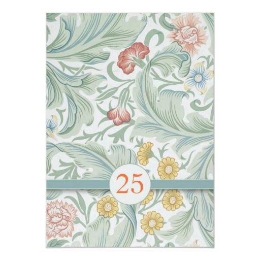 25th Wedding Anniversary Colorful Flowers Invites 5 X 7 Invitatio