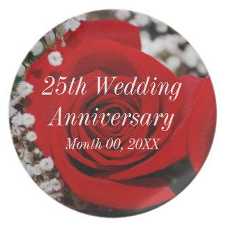 25th Wedding Anniversary Dinner Plate