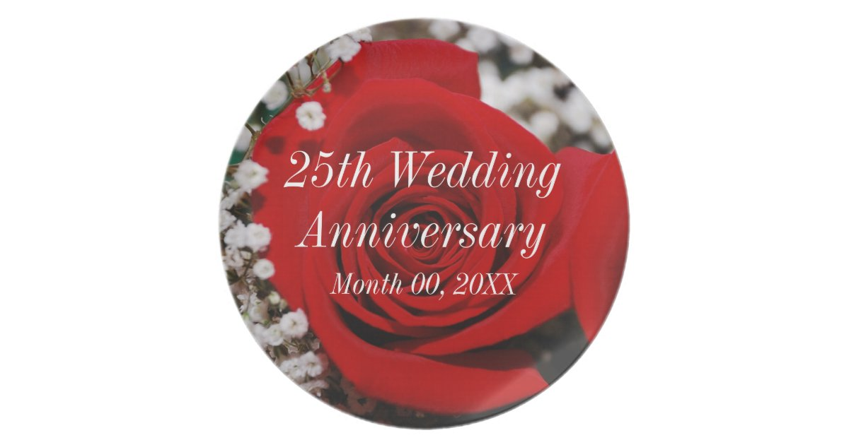 25th Wedding Anniversary Gift Experiences : 25th Wedding Anniversary Dinner Plate Zazzle