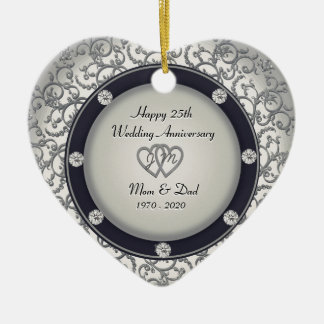 25th Wedding Anniversary Double-Sided Heart Ceramic Christmas Ornament