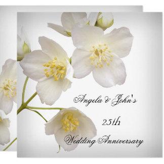25th Wedding Anniversary Elegant Floral White Card