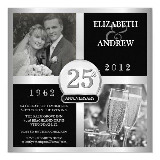 25th Wedding Anniversary Elegant Photo Invitations