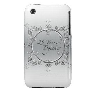 25th Wedding Anniversary Elegant Scrolls Case-Mate iPhone 3 Case