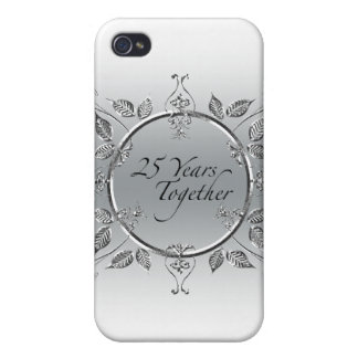 25th Wedding Anniversary Elegant Scrolls iPhone 4/4S Cover