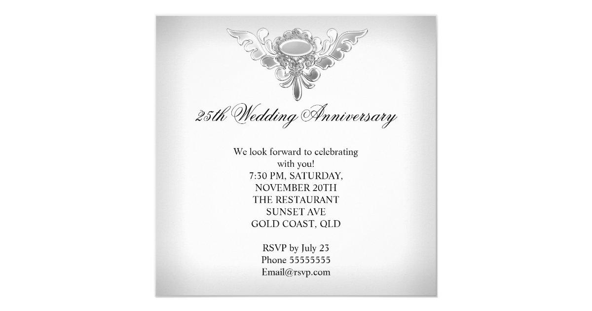 25th Wedding Anniversary Gift Experiences : 25th Wedding Anniversary Elegant Silver White Card Zazzle