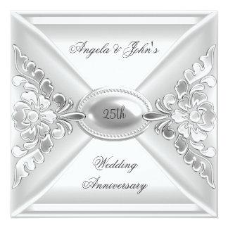 25th Wedding Anniversary Elegant Silver White Invitation