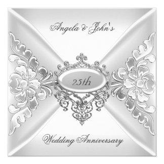 25th Wedding Anniversary Elegant Silver White 5.25x5.25 Square Paper Invitation Card