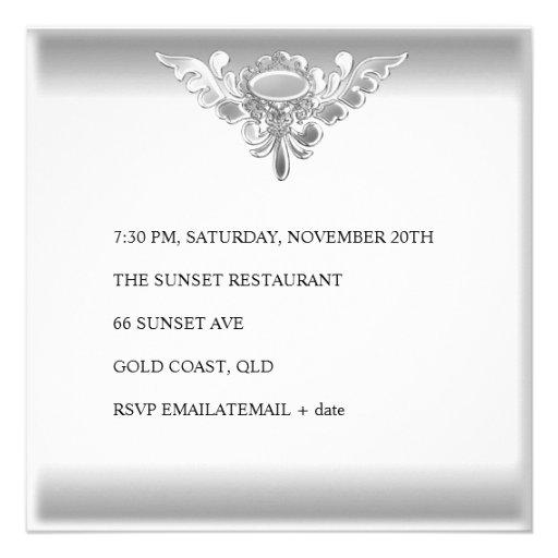 25th Wedding Anniversary Elegant Silver White Invites (back side)