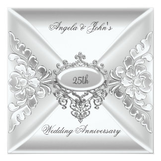 "25th Wedding Anniversary Elegant Silver White 5.25"" Square Invitation Card"