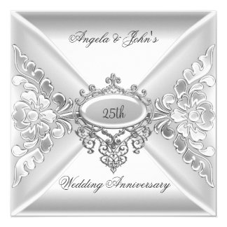 25th Wedding Anniversary Elegant Silver White 5.25x5.25 Square Paper Invitation Card