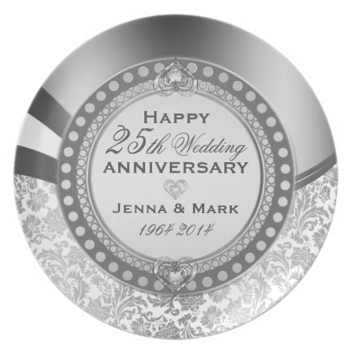 25th Wedding Anniversary Gift Experiences : 25th Wedding Anniversary Floral Silver & White Plate Zazzle