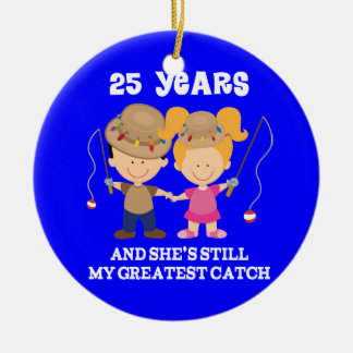 25th Wedding Anniversary Funny Gift For Him Double-Sided Ceramic Round Christmas Ornament