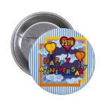 25th Wedding Anniversary Gifts 2 Inch Round Button