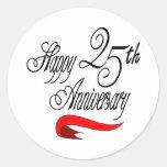 25th Wedding Anniversary Gifts Round Sticker