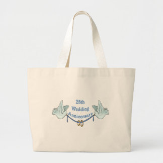 25th wedding anniversary gifts w large tote bag