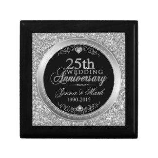 25th Wedding Anniversary Glitter & Silver Design Jewelry Box