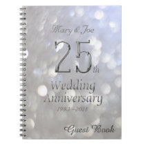 25th Wedding Anniversary Guest Book Silver Grey