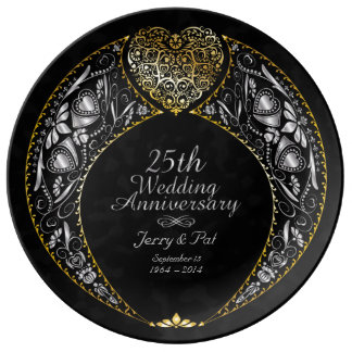 25th Wedding Anniversary Heart Wreath Plate