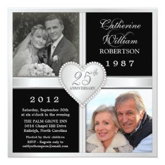 25th Wedding Anniversary Hearts Photo Invitations