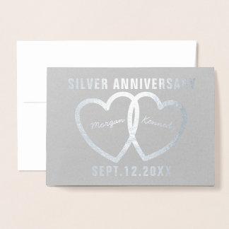 25th Wedding Anniversary Hearts Silver Foil Card