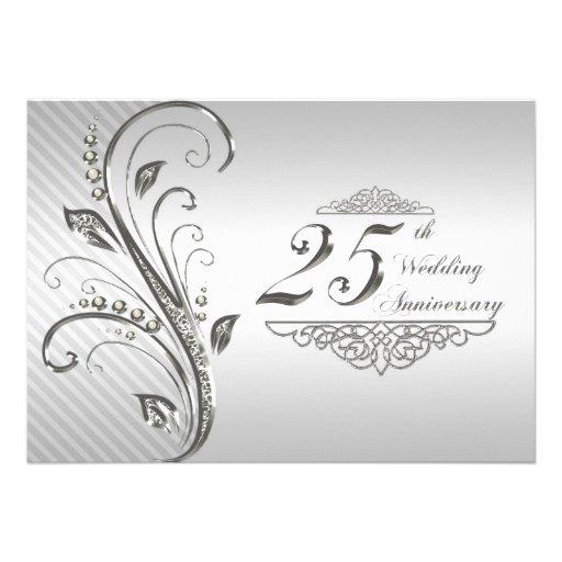 """25th Wedding Anniversary Invitation 5"""" X 7"""" Invitation Card   Zazzle"""