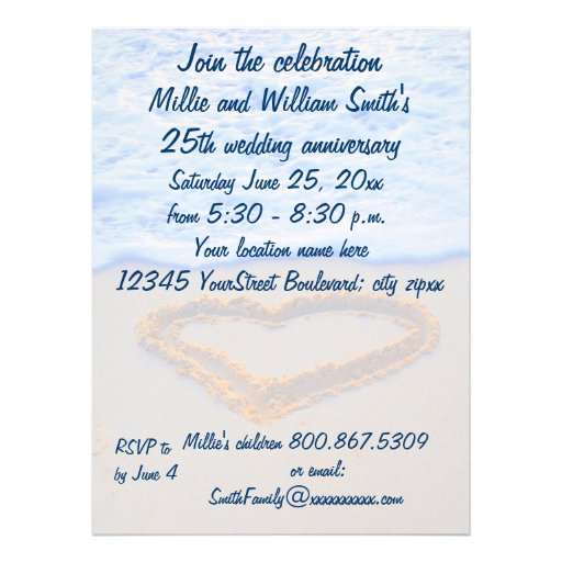 25th Wedding Anniversary 65x875 Paper Invitation Card
