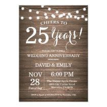 25th Wedding Anniversary Invitation Rustic Wood