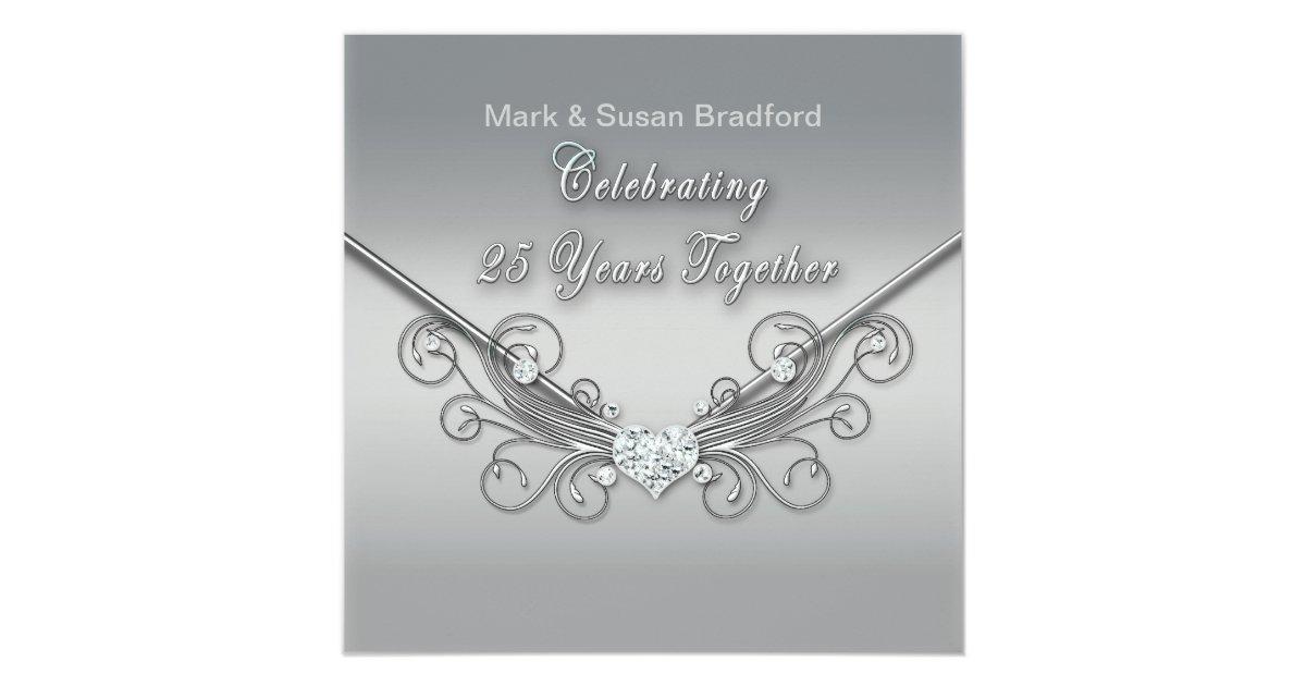 25th Wedding Invitations: 25th Wedding Anniversary - INVITATION - SILVER