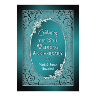 25TH WEDDING ANNIVERSARY INVITATIONS - TEAL/BLUE