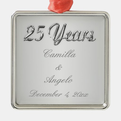 25th Wedding Anniversary Keepsake Ornament Zazzle