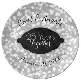25th Wedding Anniversary Keepsake Silver 25 Years Plate