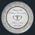 "25th Wedding Anniversary Melamine Plate<br><div class=""desc"">A Digitalbcon Images Design featuring a Platinum Silver and Black color theme with a variety of custom images, shapes, patterns, styles and fonts in this one-of-a-kind &quot;Silver Wedding Anniversary&quot; Plate. This elegant and attractive design makes the ideal gift for the Anniversary Couple on the special occasion and comes with customizable...</div>"