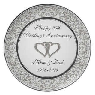 25th Wedding Anniversary Melamine Plate at Zazzle
