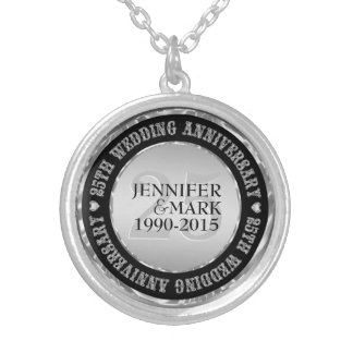 25Th Wedding Anniversary Metallic Silver & Black 2 Silver Plated Necklace