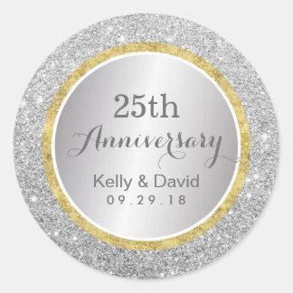 25th Wedding Anniversary Modern Silver Glitter Classic Round Sticker