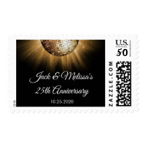 25th Wedding Anniversary Party Gold Disco Ball Postage