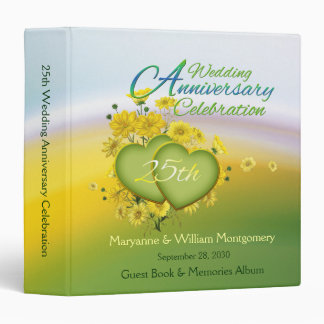 25th Wedding Anniversary Party Guest Book 1.5 inch Binder