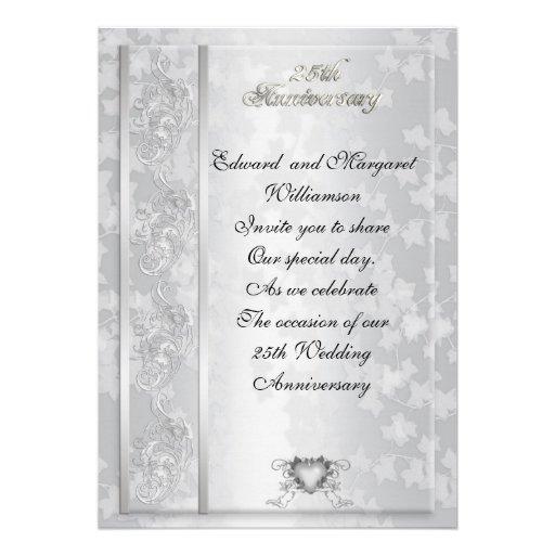 25th Wedding Anniversary Party Invitation 5 X 7 Invitation Card