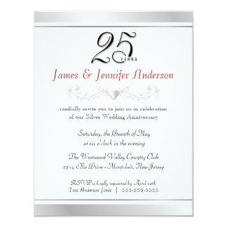"25th Wedding Anniversary Party Invitations 4.25"" X 5.5"" Invitation Card"