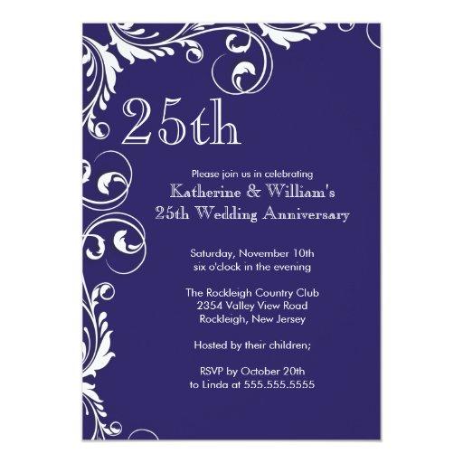 25th Wedding Anniversary Gift Experiences : 25th Wedding Anniversary Party Invitations Zazzle