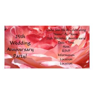 25th Wedding Anniversary Party Invitations Rose