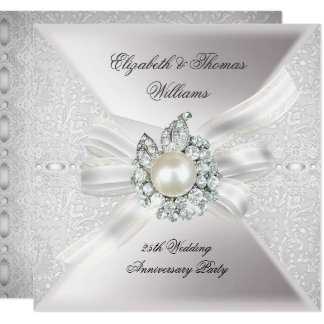 25th Wedding Anniversary Party Lace Pearl White Card