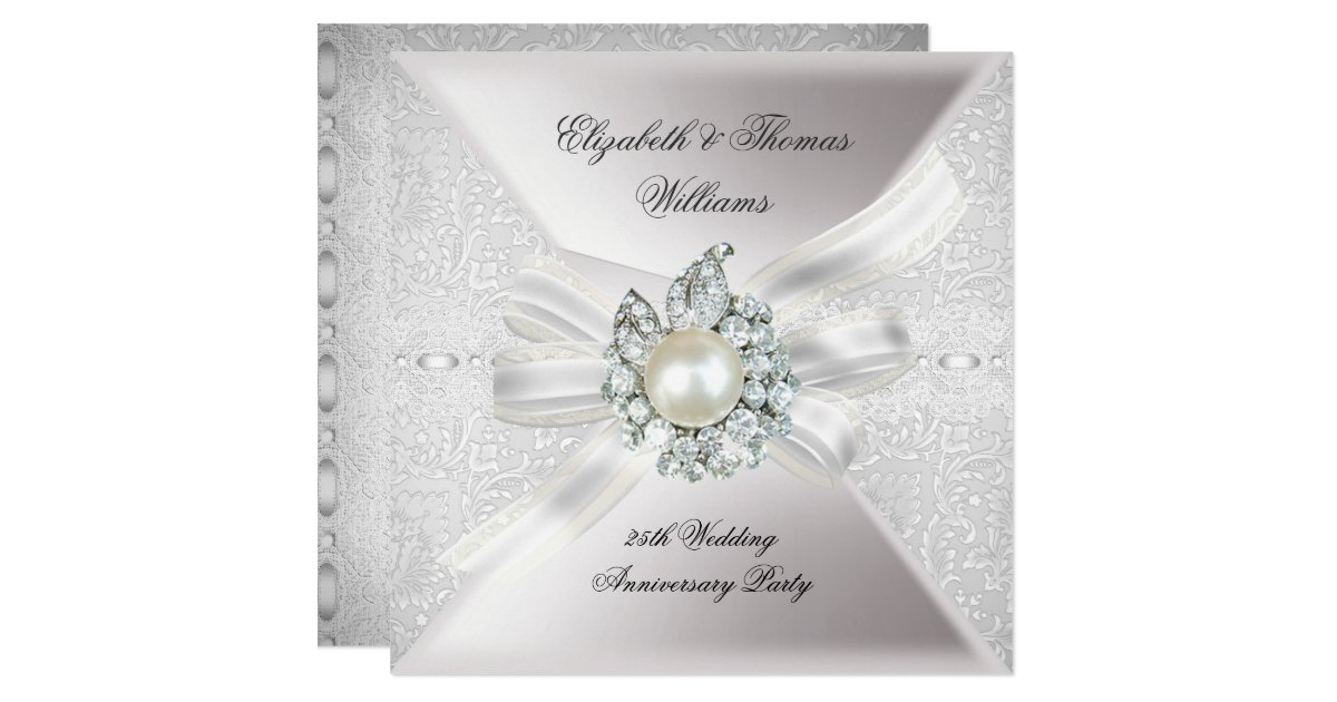Pearl Wedding Anniversary Gift Ideas: 25th Wedding Anniversary Party Lace Pearl White Card