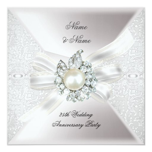 25th Wedding Anniversary Party Lace Pearl White Personalized Invitation