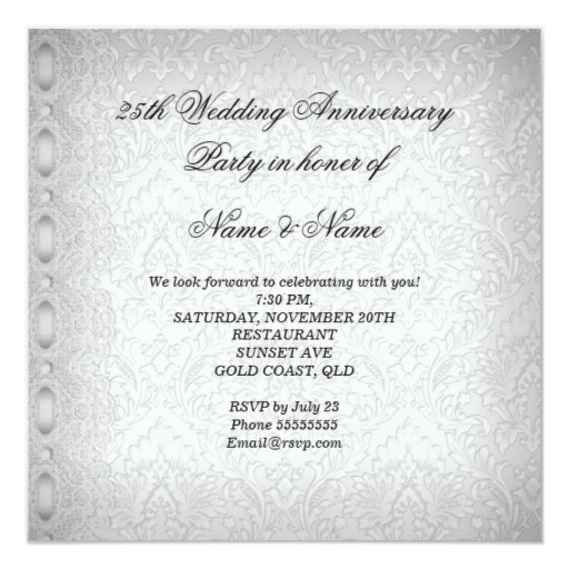 25th Wedding Anniversary Party Lace Pearl White Personalized Invitation (back side)