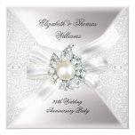 25th Wedding Anniversary Party Lace Pearl White 5.25x5.25 Square Paper Invitation Card
