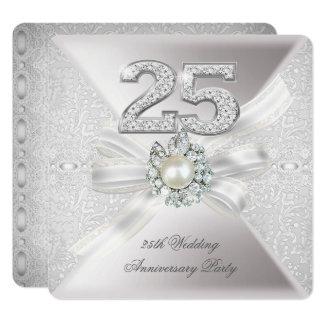 25th Wedding Anniversary Party Pearl Silver Invitation